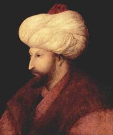 Mahomed al II-lea Fatih (Cuceritorul, Mehmed al II-lea, n. 30 martie 1432 - d. 3 mai 1481), cel de-al treilea fiu al sultanului Murad al II-lea, a ajuns sultan la vârsta de 19 ani, a fost al șaptelea sultan al Imperiului Otoman între 1444 și 1446, și între 1451 și 1481 - foto - ro.wikipedia.org