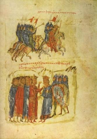 Miniatura 50-a din Cronica lui Constantin Manasses: Împăratul Nicefor I atacă Bulgaria dar este prins de către bulgari - foto: ro.wikipedia.org