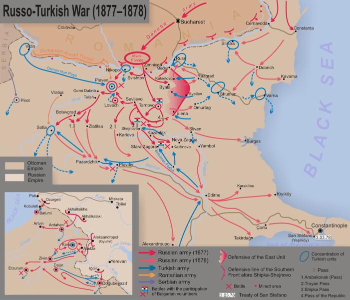 Războiul Ruso-Turc (1877–1878) - Harta mişcărilor de trupe în Balcani - foto preluat de pe ro.wikipedia.org