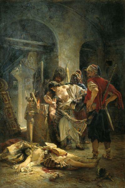 Konstantin Makovski. Martirele Bulgare, tablou ce descrie atrocităţile comise de başibuzuci în Bulgaria - foto preluat de pe ro.wikipedia.org