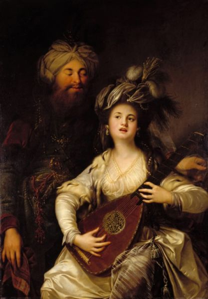 Roxelana and Süleyman the Magnificent by the German baroque painter Anton Hickel, (1780) - foto preluat de pe en.wikipedia.org