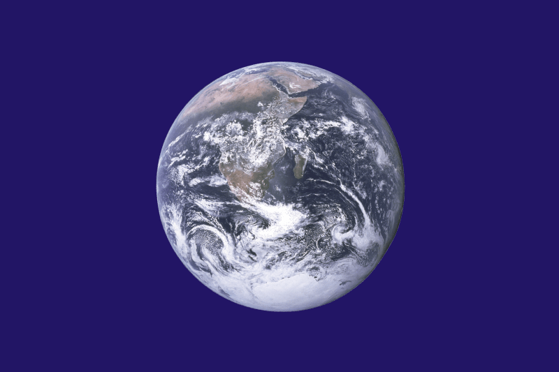The unofficial Earth Day Flag created by John McConnell includes The Blue Marble photograph taken by the crew of Apollo 17 - foto preluat de pe en.wikipedia.org