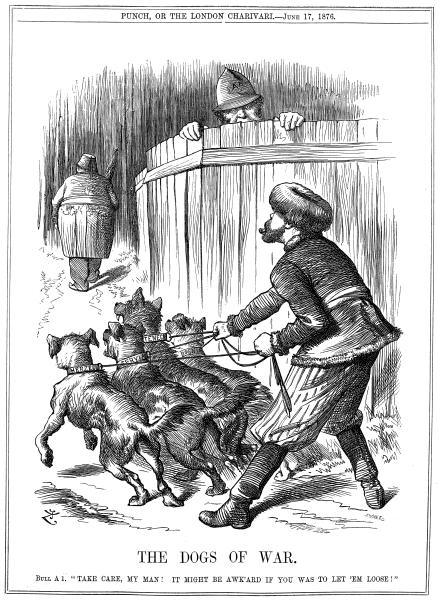 Rusia pregătindu-se să elibereze câinii războiului balcanic, în timp ce Regatul Unit o avertizează să aibă grijă. Caricatură din revista Punch din 17 iunie 1876 - foto preluat de pe ro.wikipedia.org