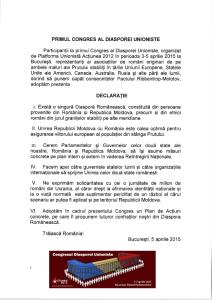 Declaraţia Primului Congres al Diasporei Unioniste – Bucureşti, 3-5 aprilie 2015 - foto - taranista.wordpress.com