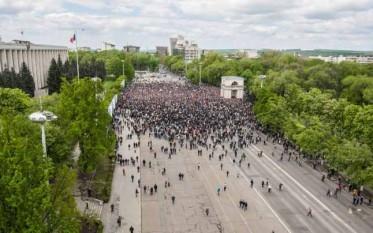 Foto: Sandu Tarlev- Adevarul.md la începerea protestului