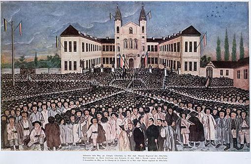 Stampă din 1848 reprezentând Adunarea de la Blaj, sub drapeluri ale Casei de Habsburg (negru-galben) și tricoloruri româneșt (Muzeul Unirii Alba Iulia) - foto: ro.wikipedia.org