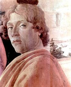 Sandro Botticelli: Autoportret. Detaliu din compoziţia Adoraţia magilor, 1475 - Galeria Uffizi, Florența - foto preluat de pe ro.wikipedia.org