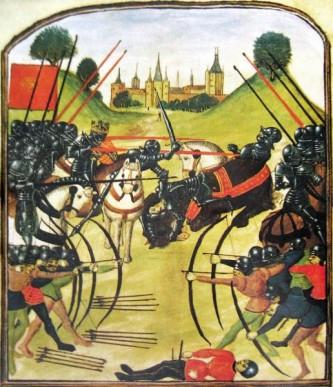 """""""Războiul celor două roze - Bătălia de la Tewkesbury"""" (4 mai 1471) - The battle of Tewkesbury, depicted in a Ghent manuscript - foto preluat de pe ro.wikipedia.org"""