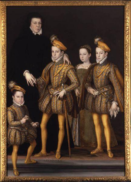 Caterina cu fiii săi: regele Carol al IX-lea, Margareta, Henric de Anjou și Francisc de Alençon, circa 1561 - foto: ro.wikipedia.org