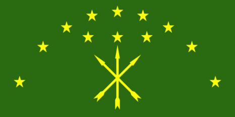 Drapelul cerchezilor: Adyge . Cele 12 stele reprezintă cele 12 triburi ale cerchezi. foto: cersipamantromanesc.wordpress.com