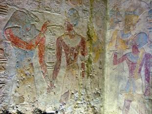 Fresca de la templul Beit el-Wali in care Ramses este calauzit de zei - foto - ro.wikipedia.org