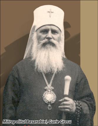 Gurie Grosu (n. 1 ianuarie 1877, Nimoreni, Lăpușna - d. 14 noiembrie 1943, București (înmormântat la Cernica) a fost mitropolit român, primul titular al Mitropoliei Basarabiei după 100 de ani de ocupație rusă. Numele său de botez era Gheorghe, iar numele de Gurie l-a luat atunci când s-a călugărit. Gurie a fost un om extrem de evlavios și unul din promotorii românismului în Basarabia - foto: archiva.flux.md