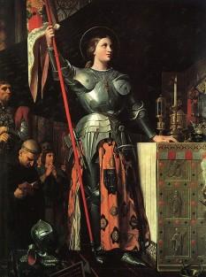 Ioana d'Arc în capela regelui Charles VII, pictură de Dominique Ingres (1780-1867) - foto preluat de pe ro.wikipedia.org