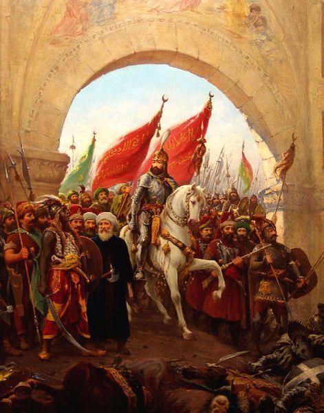 Asediul și Căderea Constantinopolului (6 aprilie - 29 mai 1453) - Sultanul Mehmed Cuceritorul intrând în Constantinopol, pictură de Fausto Zonaro - foto preluat de pe ro.wikipedia.org