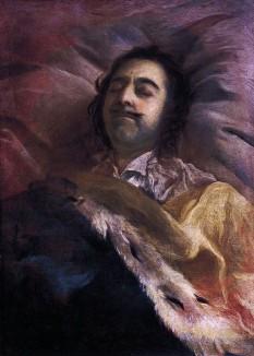 Petru I pe patul de moarte. Unii specialiști i-au atribuit acest desen, aflat în prezent la Ermitaj lui Gottfried Danhauer, deși părerea genererală este că el aparține lui Ivan Nikitin - foto - ro.wikipedia.org
