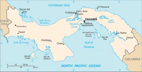 Canalul  taie istmul Panama de la Oceanul Pacific în partea de sud-est la Oceanul Atlantic în partea de nord-vest - foto - ro.wikipedia.org