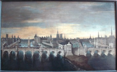 Painting of the Pont Neuf project as approved by King Henry III in 1577. The bridge was ultimately completed in 1607 with a less ornate design - foto - en.wikipedia.org