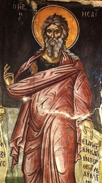 Sfântul Prooroc Isaia a fost fiul lui Amos și unul din cei patru mari prooroci ai Vechiului Testament (alături de Ieremia, Iezechiel și Daniel), personalitate foarte influentă în sec al VIII-lea î.Hr, în timpul regilor Ozia, Iotam, Ahaz, Iezechia și Manase, pe care a încercat să-i ajute și să-i îndrepte prin profeții, mustrări și îndemnuri. A murit ca martir. Biserica creștină îl prăznuiește la 9 mai - foto: doxologia.ro