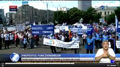 Protest al finctionarilor publici - foto - captura stiri.tvr.ro