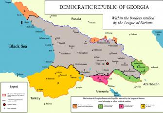 Localizarea Republicii Democrate Georgia - foto preluat de pe ro.wikipedia.org