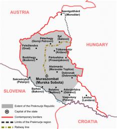 """Republica Prekmurje stat nerecunoscut creat în 1919, odată cu destrămarea Imperiului Austro-Ungar, în regiunea istorică numită tradițional """"Ținutul Vendic"""" - foto - ro.wikipedia.org"""