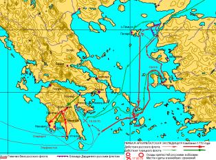Acțiunilor flotei ruse în 1770 - foto - ro.wikipedia.org
