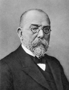 Robert Koch (n. 11 decembrie 1843, Clausthal, Saxonia Inferioară – d. 27 mai 1910, Baden-Baden) a fost un bacteriolog german. A studiat la Göttingen, avându-l ca profesor pe Jacob Henle care afirma în 1840 că rănile sunt infectate de niște organisme parazite. Koch a stabilit cauza bacterială a mai multor boli infecțioase și a descoperit microorganismele care cauzează antraxul (1876), infectarea rănilor (1878), tuberculoza (1882), conjunctivita (1883), holera (1884) și alte boli. A fost profesor la Universitatea din Berlin din 1885 până în 1891 și șef al Institutului de Boli Infecțioase (pe care l-a fondat tot el), din 1891 până în 1904. În cursul cercetărilor sale bacteriologice pentru guvernul german și pentru cel englez, a călătorit în Africa de Sud, India, Egipt și în alte țări. Cu această ocazie, el a făcut studii valoroase cu privire la boala somnului, malarie, ciuma bubonică, lepra și alte boli. Pentru contribuțiile lui la studiul infecției tuberculoase, Koch a primit în 1905 Premiul Nobel pentru Fiziologie/Medicină - foto: en.wikipedia.org