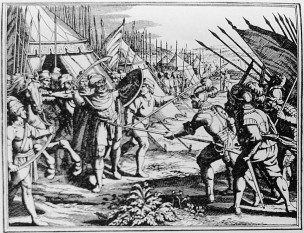 Uciderea lui Mihai Viteazul pe Câmpia Turzii din Turda (gravură editată la Leiden - Olanda în anul 1703) - foto - ro.wikipedia.org