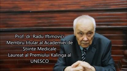 prof. dr. Radu Iftimovici, membru titular al Academiei de Stiinte Medicale, Laureat al Premiului Kalinga al UNESCO - foto captura video youtube.com