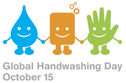Logo used for Global Handwashing Day around the world. Shown in the image are water, soap, and hand - foto preluat de pe www.globalhandwashingday.org