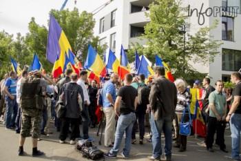 Protest în fața Ambasadei Republicii Moldova la București - foto preluat de pe infoprut.ro