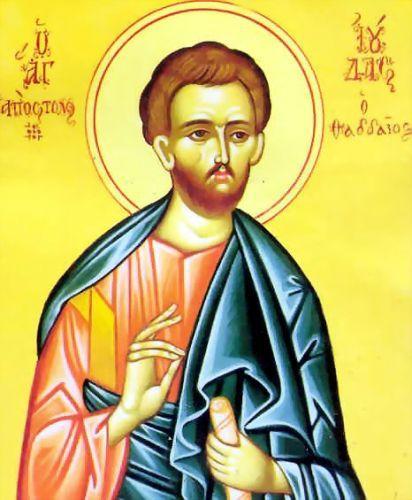 """Sfântul slăvitul și mult lăudatul Apostol Iuda a fost unul din cei Doisprezece Apostoli ai lui Iisus Hristos și fratele său, alături de Sfântul Iacov, prin faptul că era fiul lui Iosif Logodnicul. El mai este numit și Levi sau Tadeu, dar nu trebuie confundat cu Iuda Iscarioteanul, cu Apostolul Matei (numit și """"Levi"""") sau cu Apostolul Tadeu din Cet Șaptezeci. El este menționat în Evangheliile sinoptice, în Faptele Apostolilor și a scris o epistolă care este parte componentă din Noul Testament. Prăznuirea sa se ține la 19 iunie - foto: doxologia.ro"""