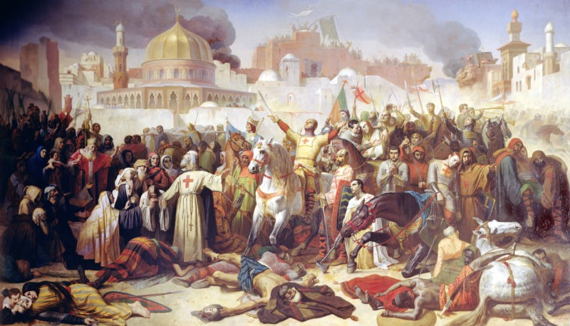 Capture of Jerusalem (15th July 1099) by the Crusaders (19th-century artist impression) - foto preluat de pe ro.wikipedia.org