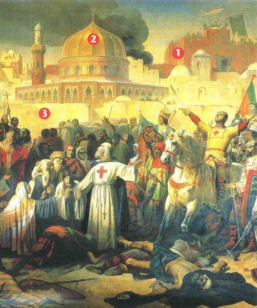 Prise de Jérusalem par les Croisés, le 15 juillet 1099 Emil Signol, Musée du Château Versaille - foto preluat de pe ro.wikipedia.org