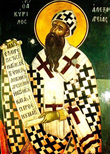 """Părintele nostru între sfinți Chiril al Alexandriei a fost Patriarh al Alexandriei pe vremea când aceasta era la apogeul influenței și puterii sale în sânul Imperiului Roman. Sfântul Chiril a fost un scriitor prolific, el fiind și protagonistul principal al controverselor hristologice din secolele al IV-lea și al V-lea. A fost figura centrală a Sinodului de la Efes din 431 care a culminat cu îndepărtarea lui Nestorie din scaunul de Arhiepiscop al Constantinopolului. Sfântul Chiril este unul din Părinții Bisericii și faima sa în lumea ortodoxă i-a adus numele de """"Pecete a tuturor Părinților"""". Este prăznuit în Biserica Ortodoxă atât în ziua de 9 iunie cât și pe data de 18 ianuarie împreună cu Sf. Atanasie al Alexandriei - foto: doxologia.ro"""