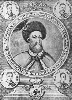 Constantin Brâncoveanu (n. 15/26 august 1654 – d. 15/26 august 1714) domnul Țării Românești între anii 1688 și 1714, având una din cele mai lungi domnii din istoria principatelor române - foto - Constantin Brâncoveanu și cei patru fii (în medalioane) - ro.wikipedia.org