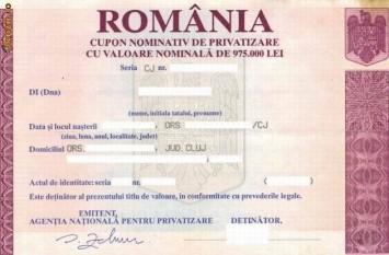 Cupon nominativ de privatizare - foto - mediafax.ro