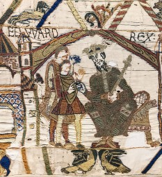 Eduard Confesorul (c. 1003 / 1004 - 5 ianuarie 1066), fiul lui Ethelred al II-lea al Angliei, penultimul rege anglo-saxon al Angliei și ultimul al Casei de Wessex, din 1042 până la moartea sa - in imagine, Eduard Confesorul, (Tapiseria de la Bayeux) - foto: ro.wikipedia.org