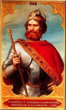 Frederic I, numit Barbarossa (n. 1122, Waiblingen? - d. 10 iunie 1190 pe râul Saleph (Anatolia), a fost ales la Frankfurt și încoronat la Aachen Rege al Germaniei în 1125, a fost încoronat Rege al Italiei la Pavia în 1154 și a fost încoronat Împărat al Sfântului Imperiu Roman în 1155, până la moartea sa. În 1178 a fost încoronat la Arles Rege de Burgundia - foto: eurobricks.com