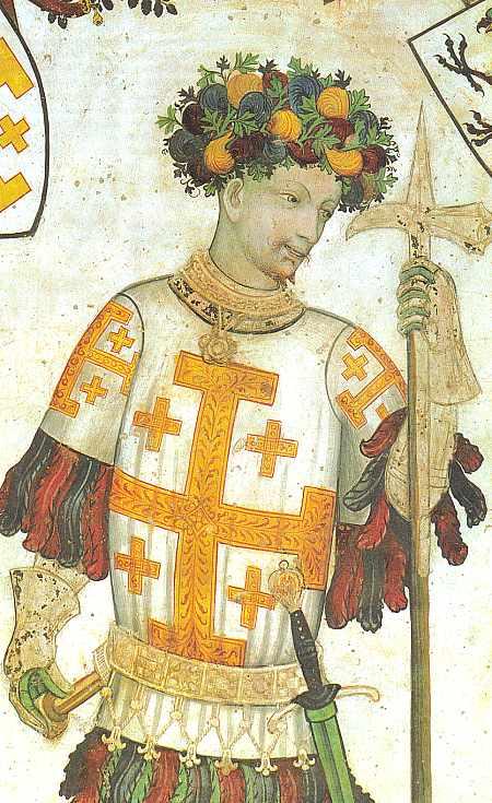 """Godefroy de Bouillon (c. 1060, Boulogne-sur-Mer – 18 iulie 1100, Ierusalim[2]) a fost un cavaler medieval, unul dintre liderii Primei Cruciade din 1096 până la moartea sa. Din 1076 a fost Senior de Bouillon, domeniu de unde şi-a luat numele, iar din 1087 a fost Duce al Lotharingiei Inferioare. După Asediul Ierusalimului din 1099, Godefroy a devenit primul suveran al Regatului Ierusalimului, dar nu a folosit titlul de """"Rege"""". - frescă din Saluzzo, Italia, cca 1420 - foto preluat de pe ro.wikipedia.org"""