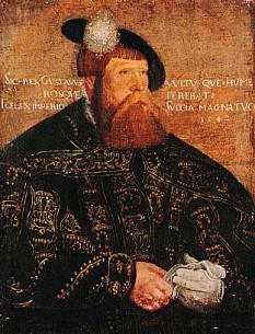 Gustav I, născut Gustav Eriksson (12 mai 1496 – 29 septembrie 1560), rege al Suediei din 1523 până la moartea sa, portret de Jakob Bincks, 1542  - foto - ro.wikipedia.org