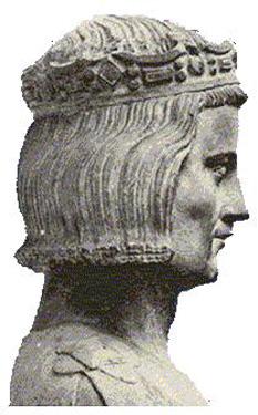 Ludovic al IX-lea al Franței (25 aprilie 1214 – 25 august 1270), cunoscut în general ca Sfântul Ludovic, Rege al Franței din 1226 până la moartea sa - foto (Reprezentare a Sfântului Ludovic considerată a fi conformă cu realitatea - statuie de la începutul secolului al XIV-lea în biserica din Mainneville, Eure, Franța)- ro.wikipedia.org