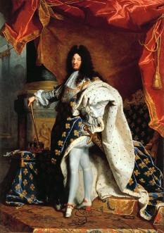 """Ludovic al XIV-lea,  supranumit """"Regele Soare"""" (n. 5 septembrie 1638, Saint-Germain-en-Laye – d. 1 septembrie 1715, Versailles) regele Franței și al Navarei - foto (Ludovic al XIV-lea, de Hyacinthe Rigaud, 1701): ro.wikipedia.org"""
