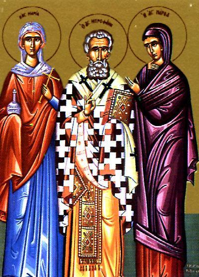 Sfântul Ierarh Mitrofan, Patriarhul Constantinopolului și Sfintele Mironosiţe Maria şi Marta. Prăznuirea lor de către Biserica Ortodoxă se face la data de 4 iunie - foto: doxologia.ro