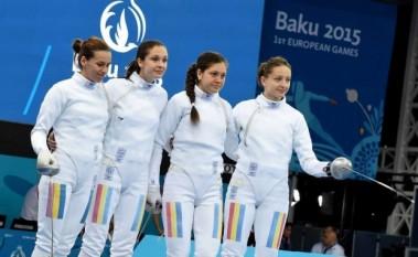 """Naționala feminină de spadă care a cucerit medalia de aur la Jocurile Europene de la Baku/ FOTO: baku2015.com"""" - foto - stiri.tvr.ro"""
