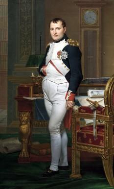 Napoleon Bonaparte (în franceză: Napoléon Bonaparte; n. 15 august 1769, Ajaccio, Corsica - d. 5 mai 1821, în insula Sfânta Elena), cunoscut mai târziu ca Napoleon I și inițial ca Napoleone di Buonaparte, lider politic și militar al Franței - foto (Napoleon în cabinetul său de lucru, de Jacques-Louis David, 1812) - ro.wikipedia.org