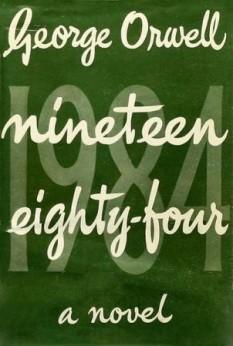 Coperta romanului în limba engleză Nineteen Eighty-Four (1984) de George Orwell, prima ediție - foto - ro.wikipedia.org