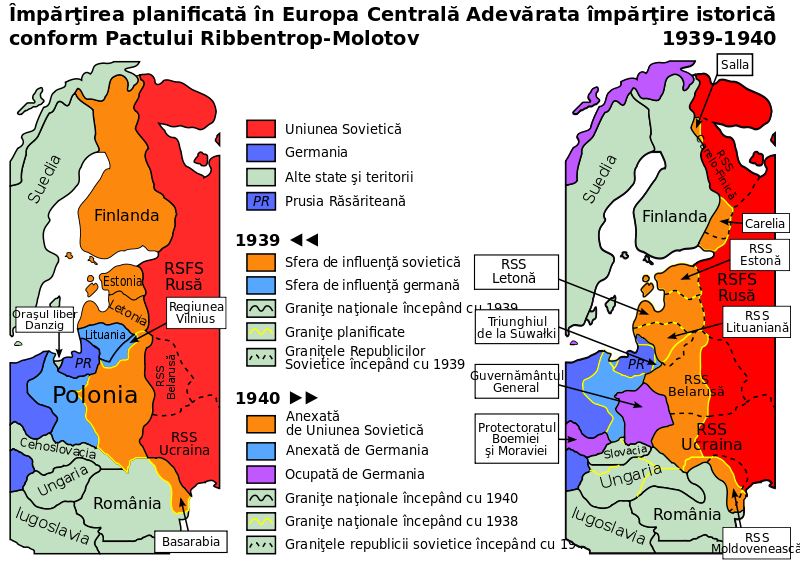 Molotov–Ribbentrop pact – political map of central europe in 1939–1940 (a map in English) (Romanian Version) - foto: ro.wikipedia.org