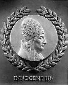 Papa Inocențiu al III-lea (Giovanni Lotario, conte de Segni, n. 1160 sau 1161, Gavignano - d. 16 iunie sau iulie 1216) Papa al Romei în perioada 8 ianuarie 1198 până la moartea sa, la 16 iunie sau iulie 1216 - foto - ro.wikipedia.org