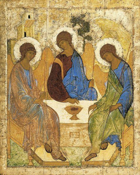 """""""Icoana Sfintei Treimi"""" de Andrei Rubliov. Acesta i-a zugrăvit pe cei trei îngeri care i s-au arătat patriarhului Avraam şi Sarrei. Îngerii sunt consideraţi a fi o prefigurare a Sfintei Treimi; prin urmare această scenă ar fi singura în care iconografii Îl pot zugrăvi pe Dumnezeu Tatăl - foto preluat de pe ro.wikipedia.org"""